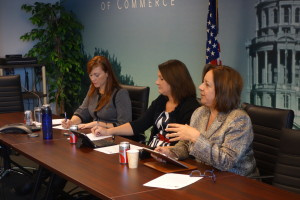 Carly West, CACI Governmental Affairs Representative, left, and Cindy Sovine-Miller, Chair of the CACI HealthCare Council, listen to Marguerite Salazar, Colorado Commissioner of Insurance, right.