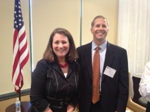 Scott Schmid, President & CEO of TruStile Doors visits with Congresswoman Diana DeGette.